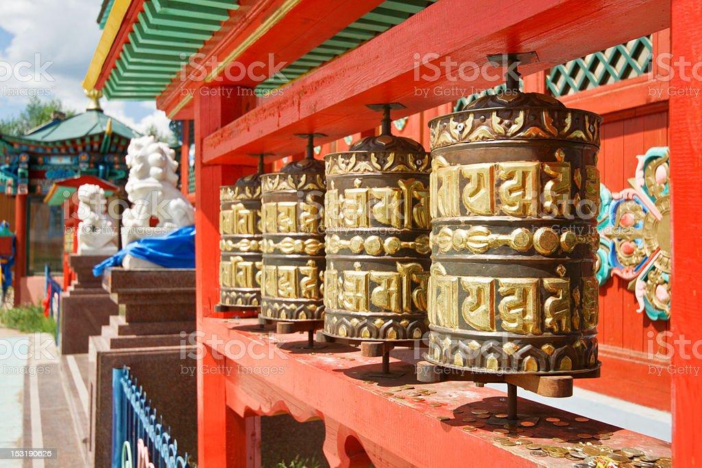 Prayers wheels in monastery royalty-free stock photo