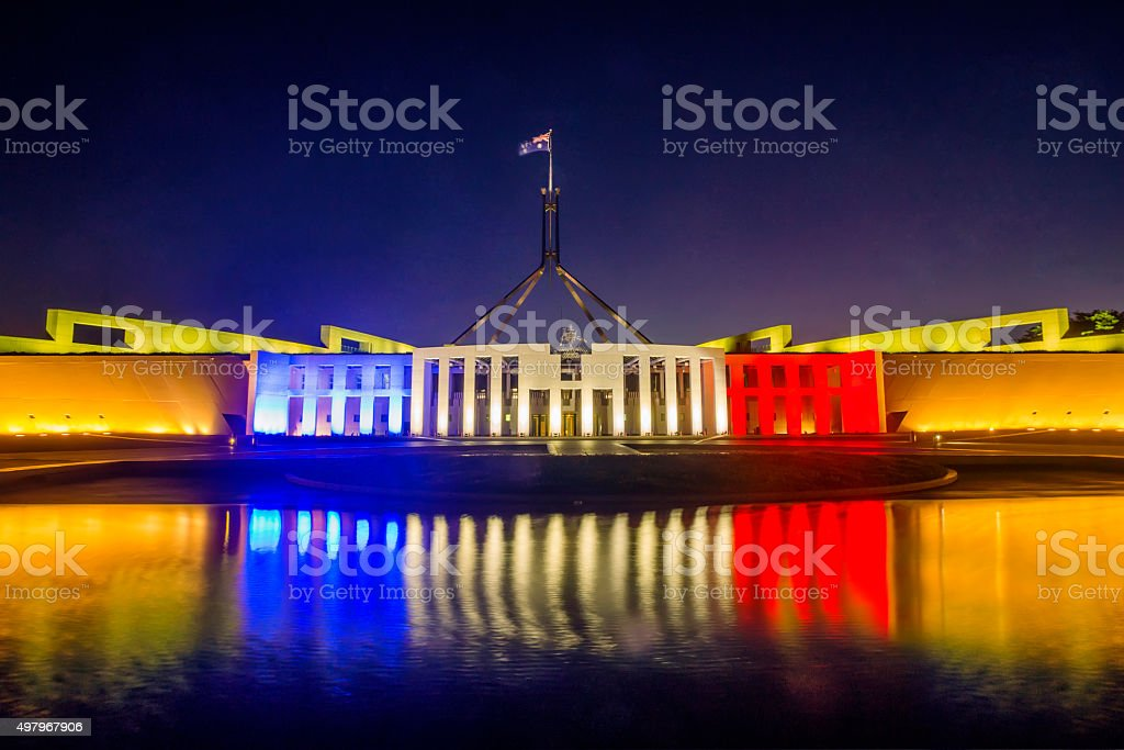 #PrayersForParis: Parliament House, Canberra stock photo