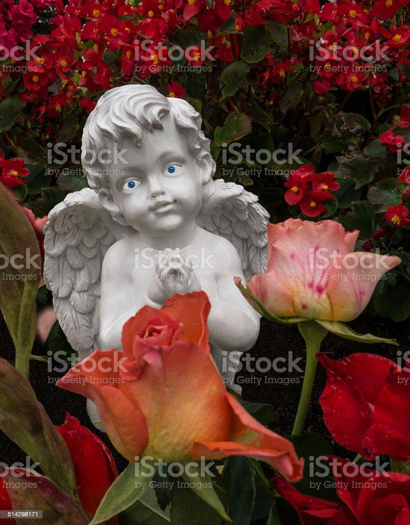 Praying angel behind roses royalty-free stock photo