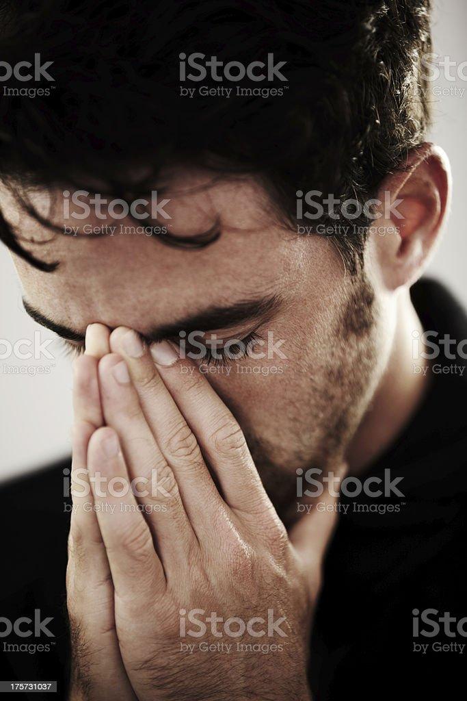 Praying desperately royalty-free stock photo