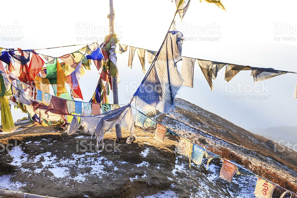 Praying flags floating in the wind royalty-free stock photo