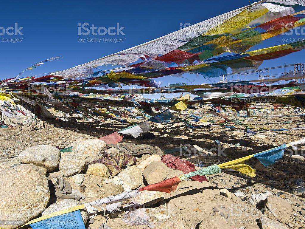 praying flags stock photo