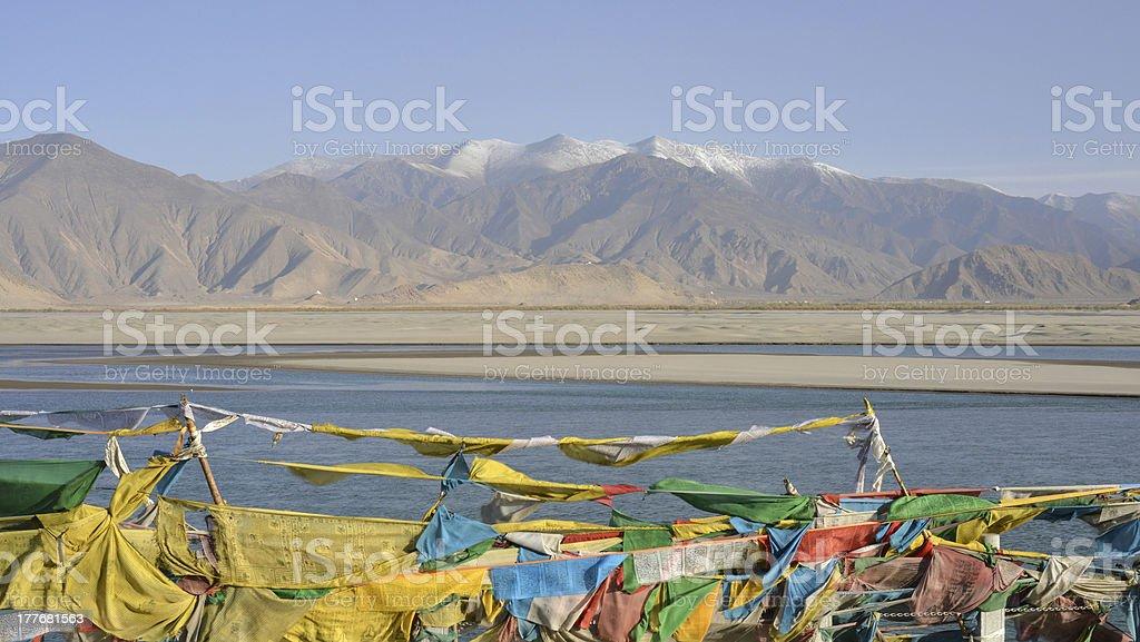 Praying flags, Tibet stock photo