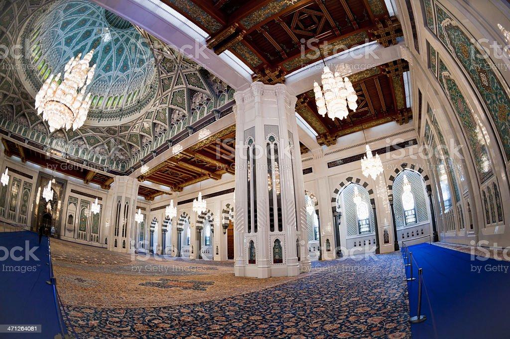 Praying Hall Interior View Grand Mosque Oman royalty-free stock photo
