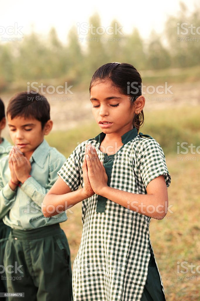 Praying hands in the Nature stock photo