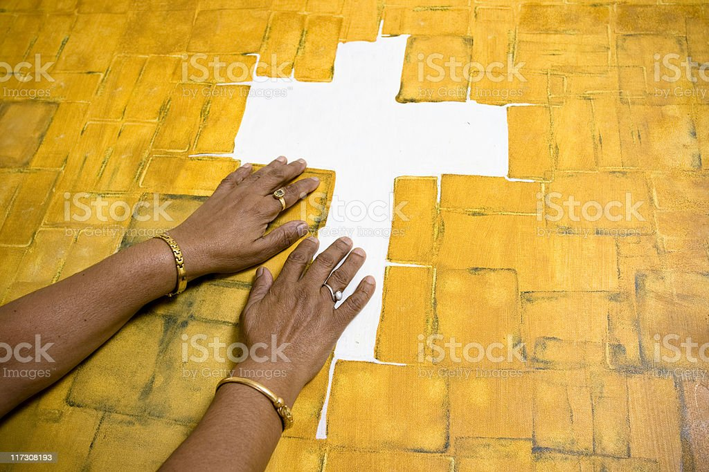 Praying hands of a Senior royalty-free stock photo