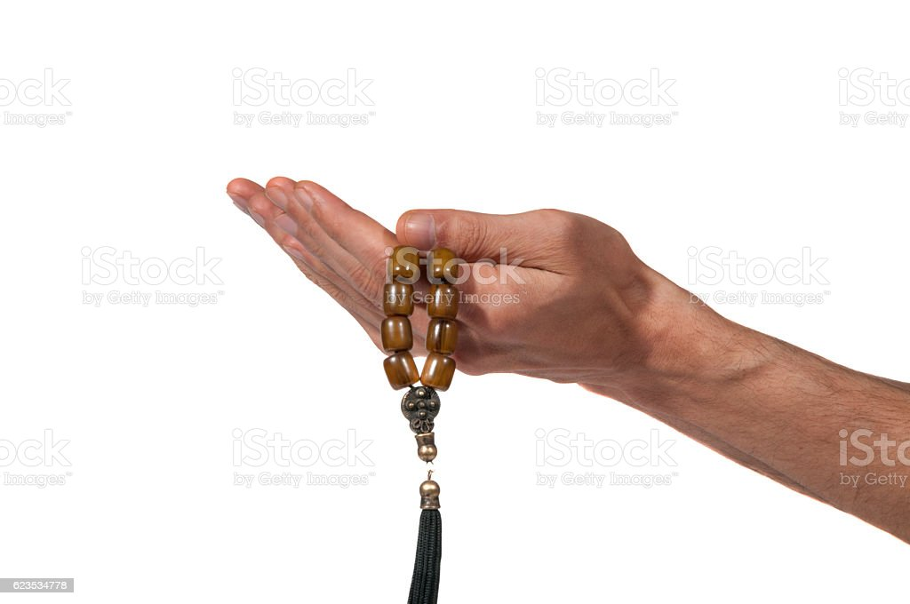 Praying hands with rosary. stock photo