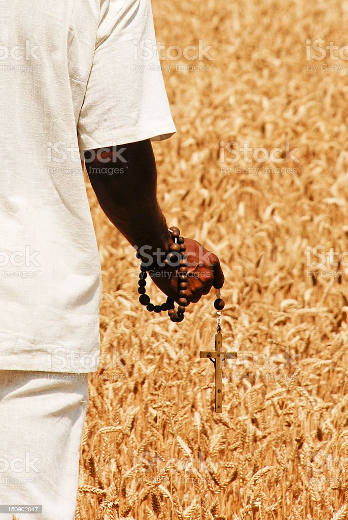 Praying in a wheat field royalty-free stock photo