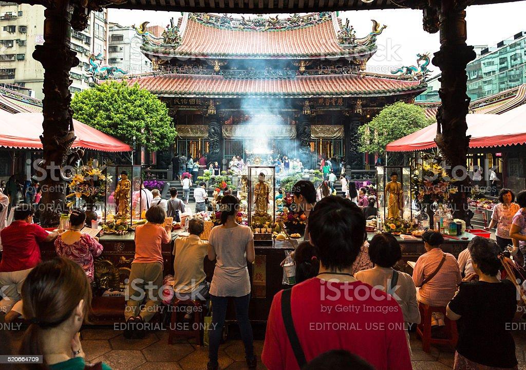 Praying in Taipei stock photo