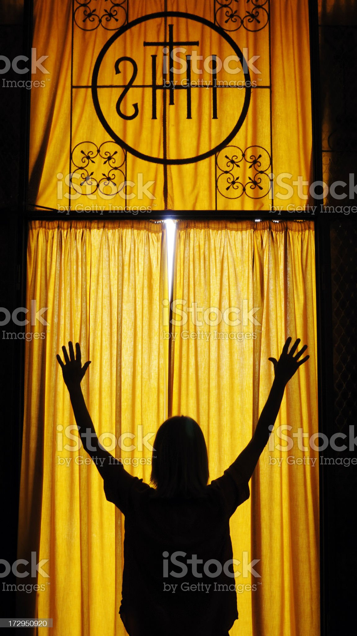 Praying in the chapel royalty-free stock photo