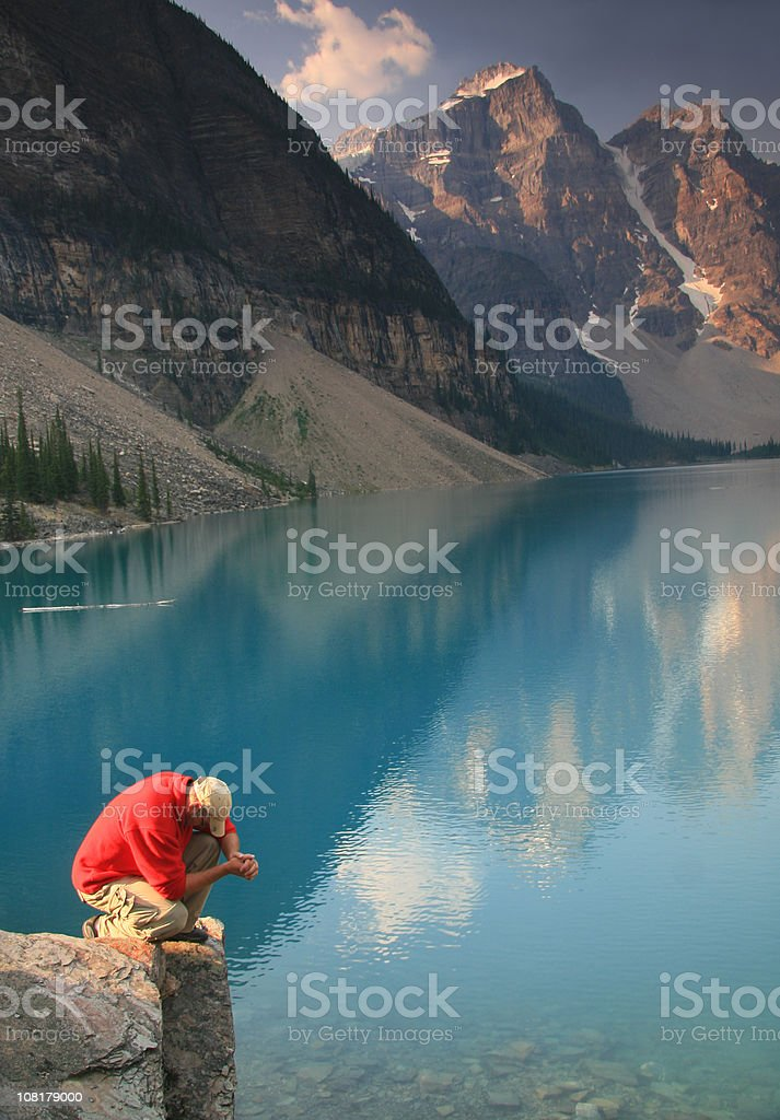 Praying in the Mountains royalty-free stock photo