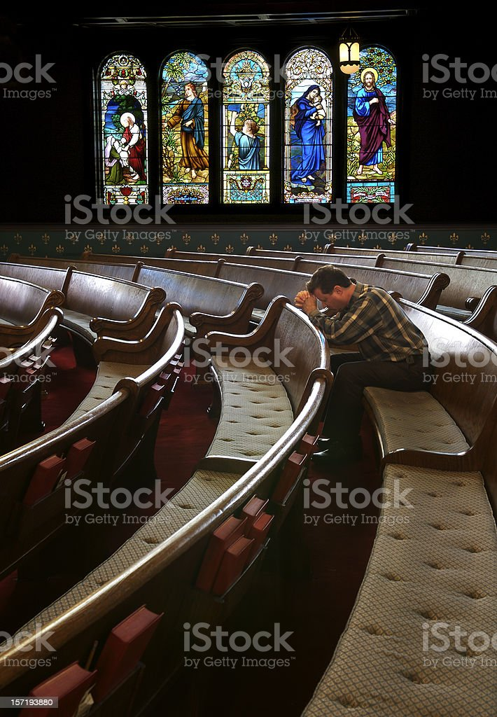 Praying in the Sanctuary royalty-free stock photo