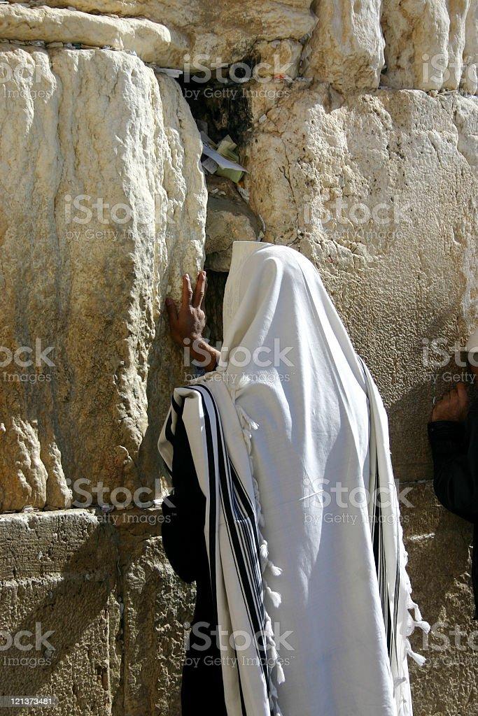 Praying jew at the wailing wall royalty-free stock photo