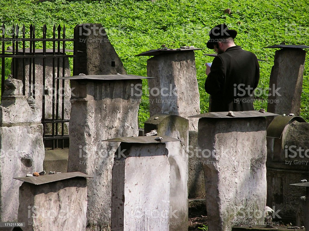 Praying jew - Remuh Cemetery royalty-free stock photo
