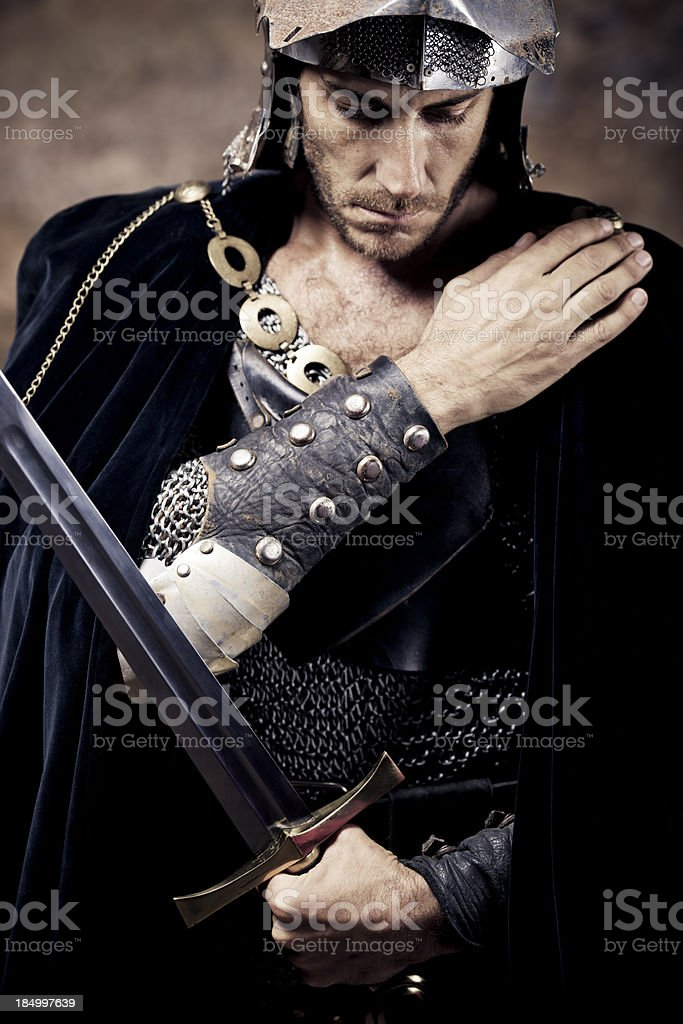 praying medieval knight royalty-free stock photo