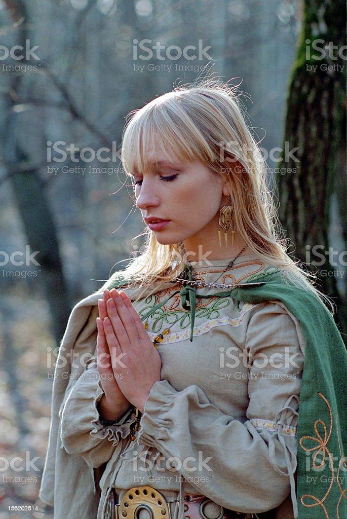 praying medieval woman royalty-free stock photo