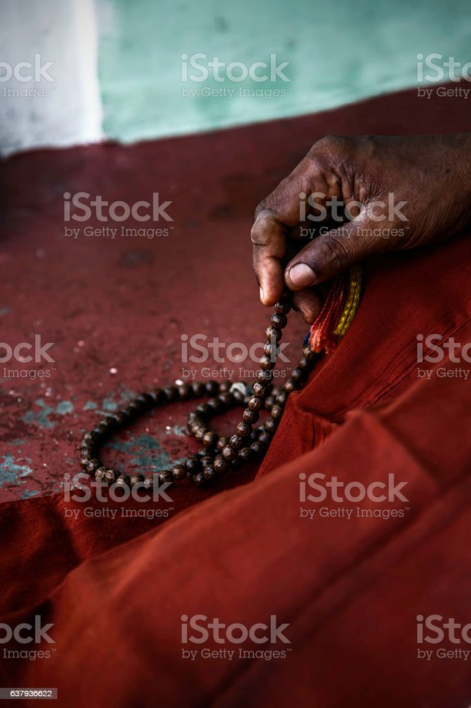 Praying Monk stock photo