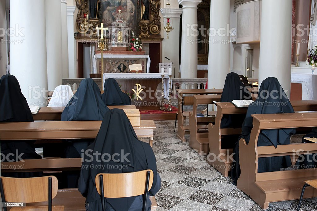 praying nons royalty-free stock photo