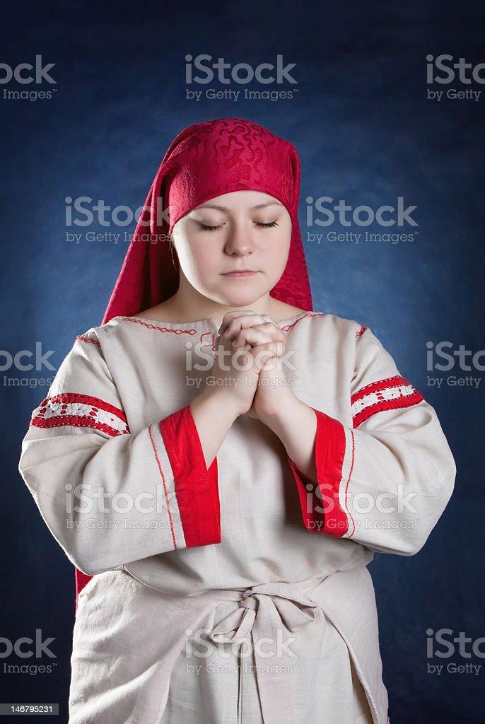 praying russian girl royalty-free stock photo