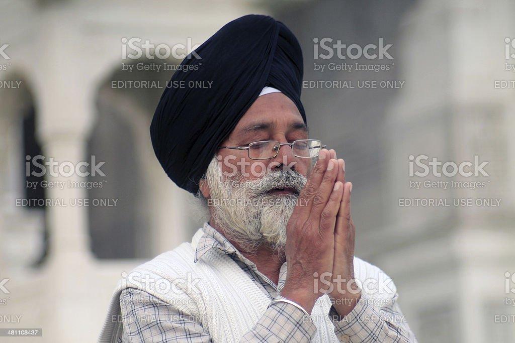Praying Sikh stock photo