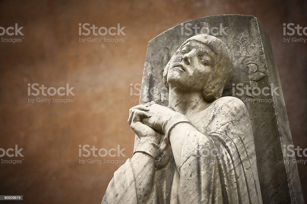 Praying Statue of Santa Giovanna Darco. royalty-free stock photo