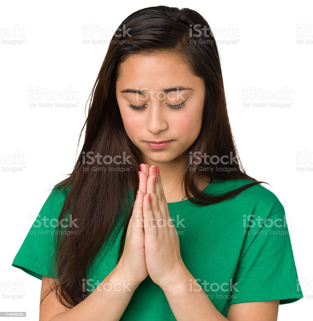 Praying Teenage Girl royalty-free stock photo