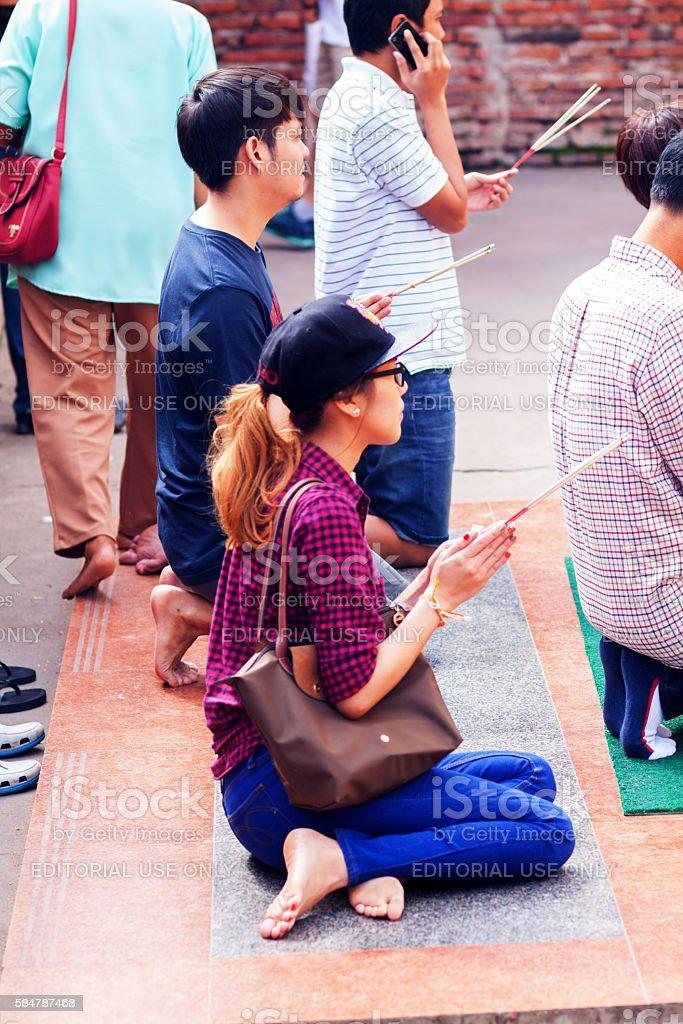 Praying thai buddhist stock photo