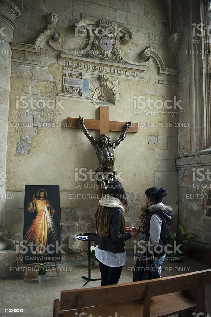 Praying together in Le Havre, France stock photo
