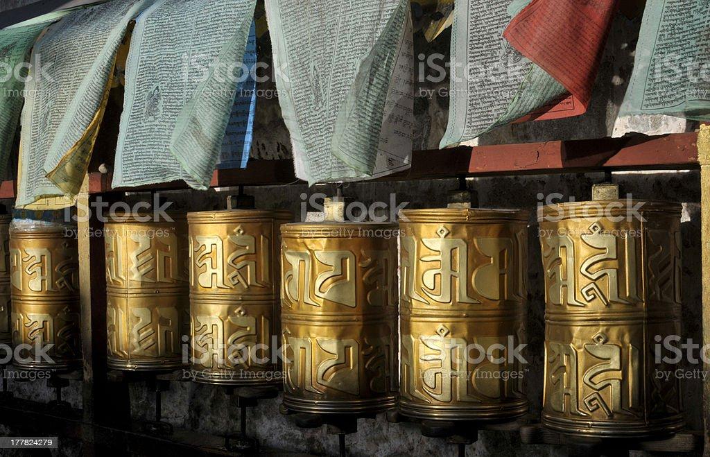 Praying wheels, Tibet stock photo