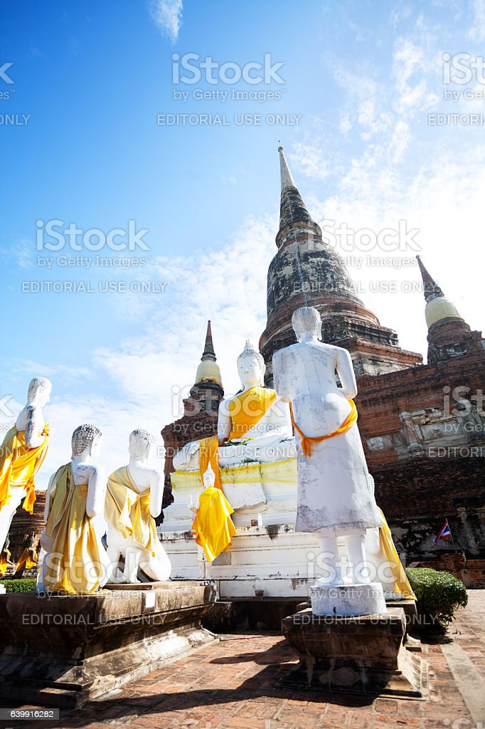 Praying white thai buddhas stock photo