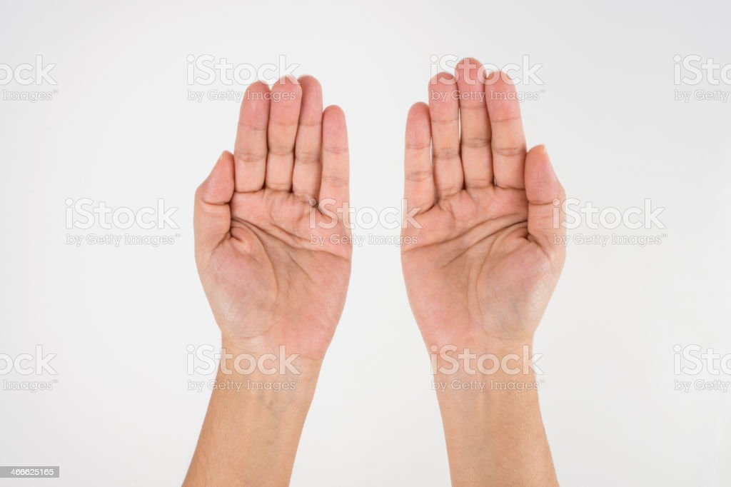 Praying with hands royalty-free stock photo