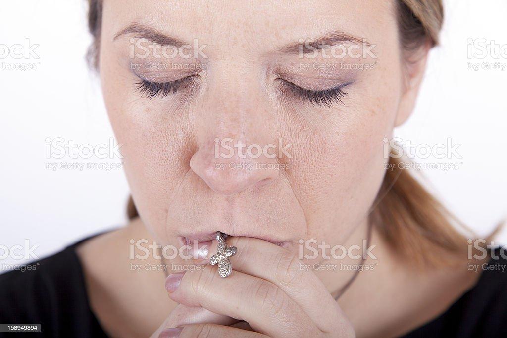 Praying Young Woman royalty-free stock photo