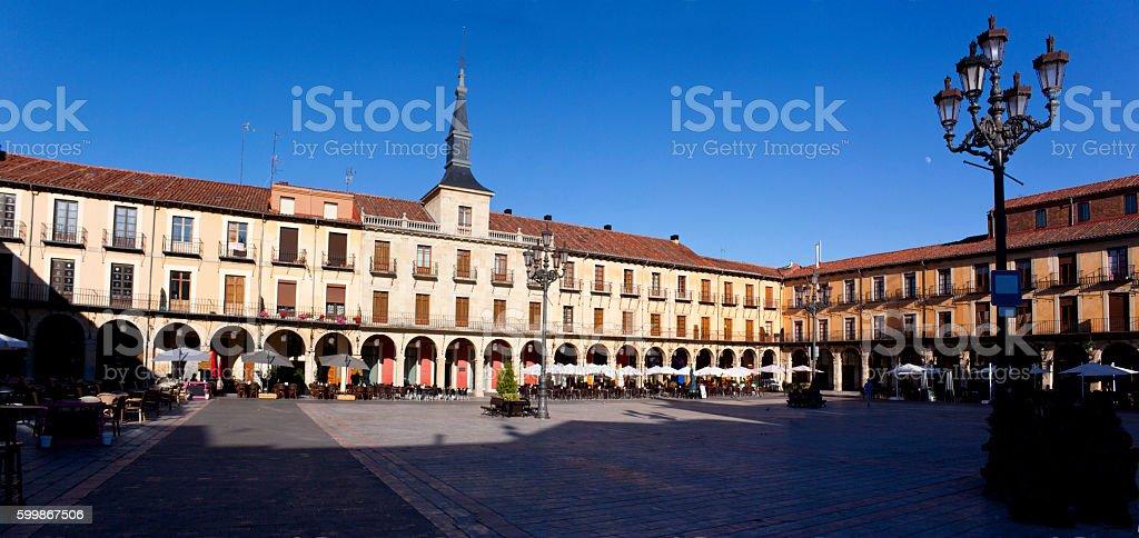 Praza Mayor of Leon stock photo