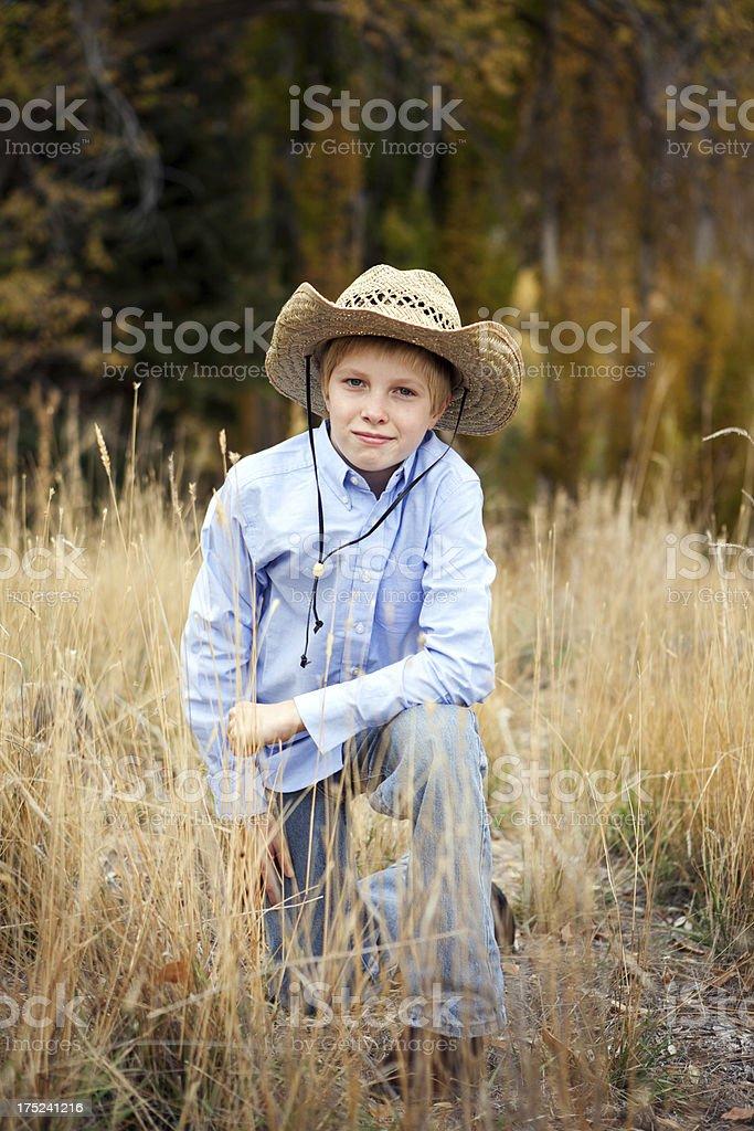 Pre Adolescent Boy Wearing Cowboy Hat royalty-free stock photo