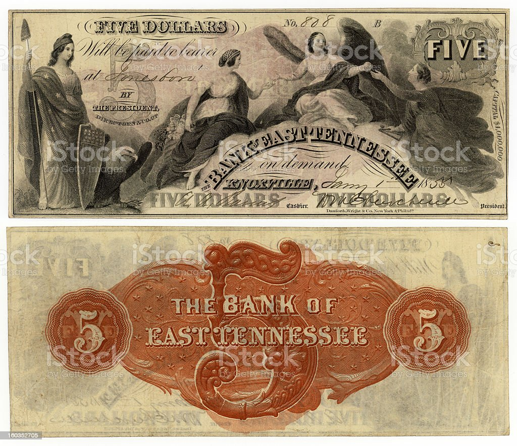 Pre Civil War Money From Tennessee royalty-free stock photo
