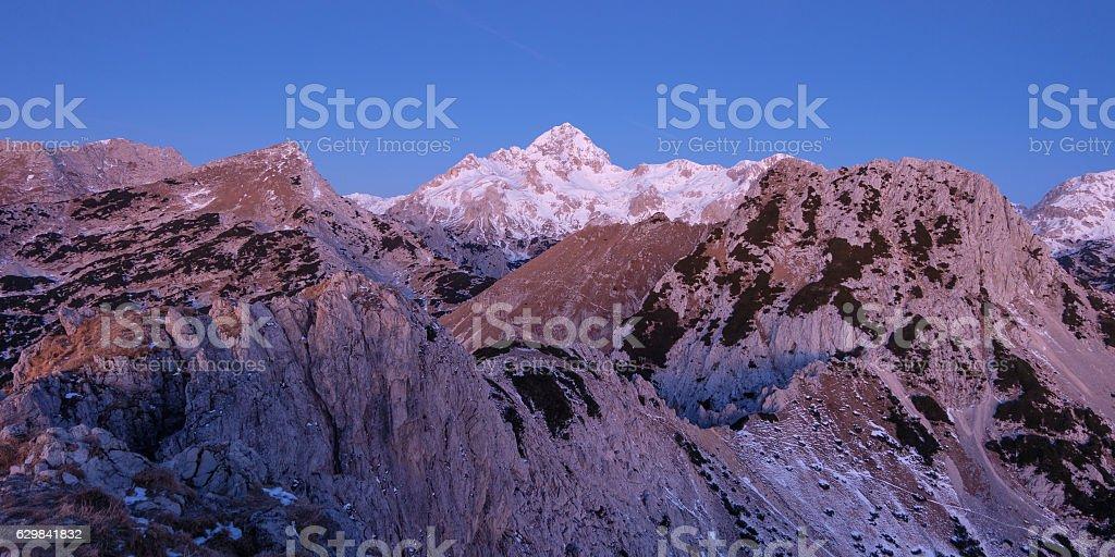 Pre dawn mountain vista stock photo