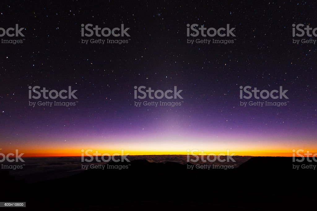 Pre Dawn Starry Sky Haleakala National Park Maui Hawaii USA stock photo