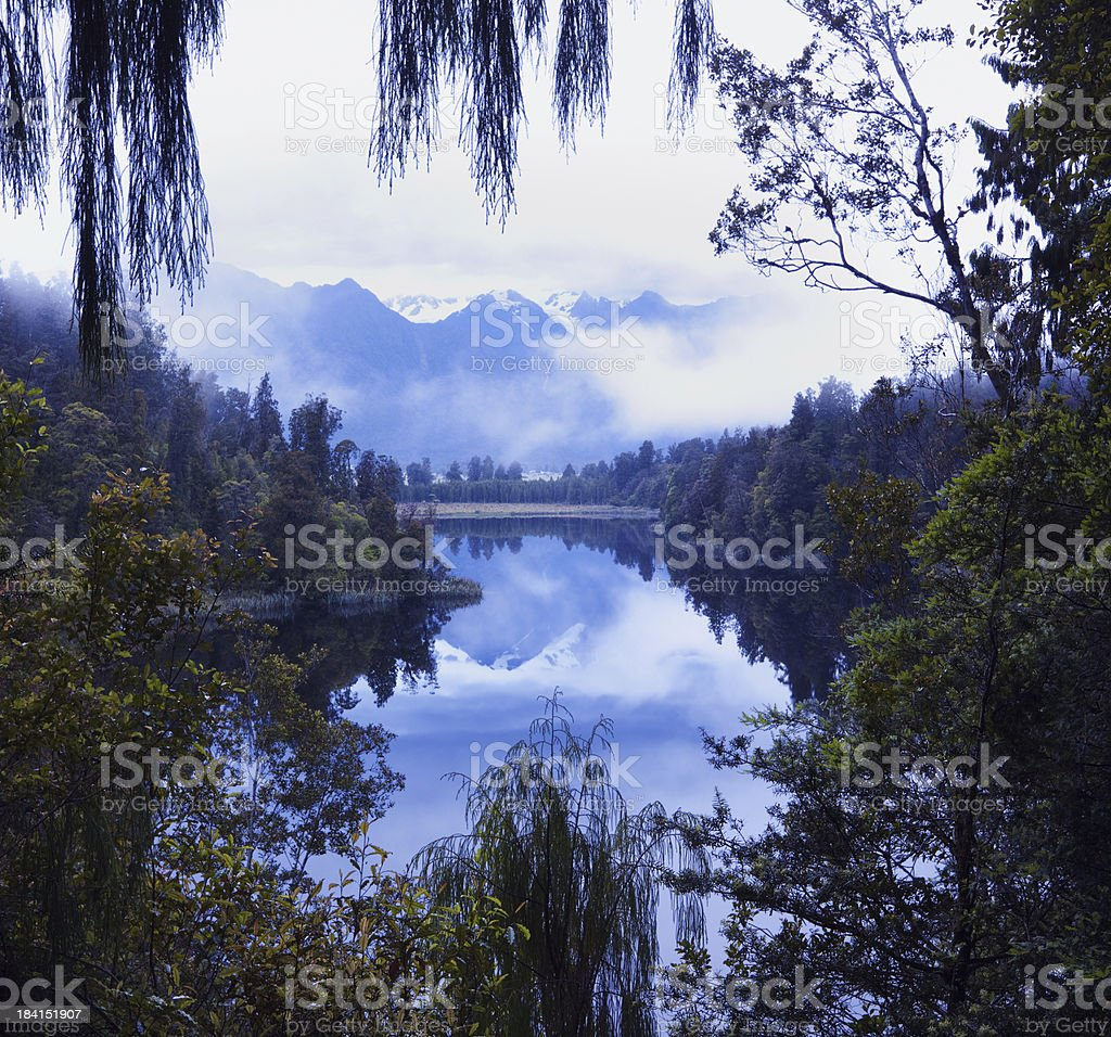 Pre Dawn Vista. Lake Matheson in New Zealand. royalty-free stock photo