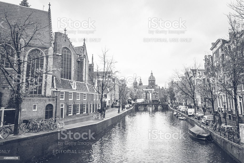 Pre historic views from the Canals of Amsterdam, Netherlands stock photo