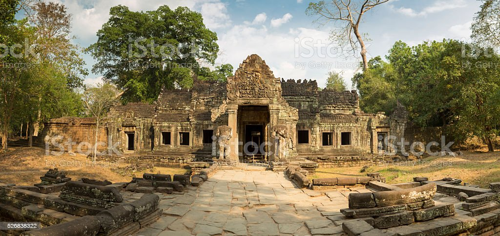Preah Khan temple with trees, UNESCO Heritage site in Cambodia. stock photo