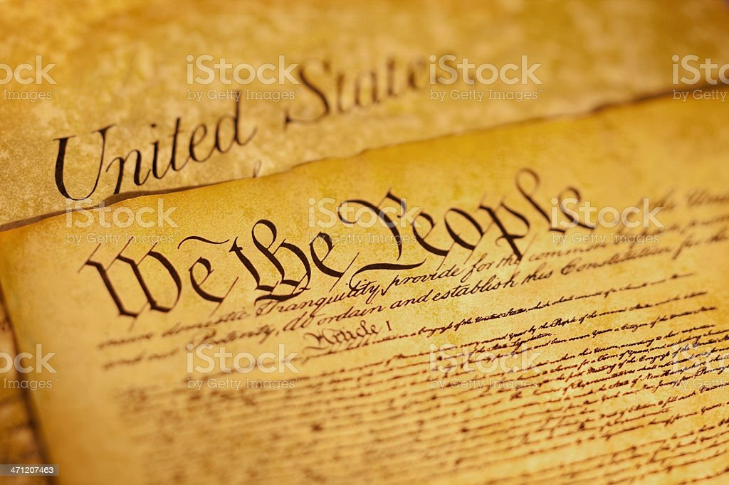 Preamble to Constitution the United States of America stock photo