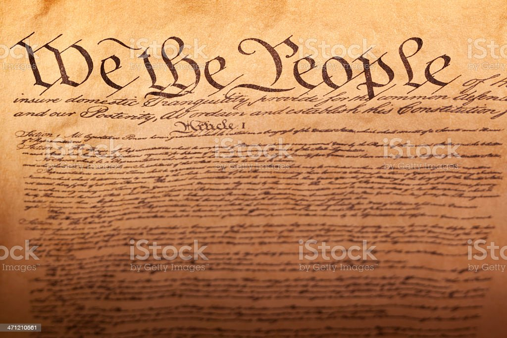 Preamble to the United States of America Constitution stock photo