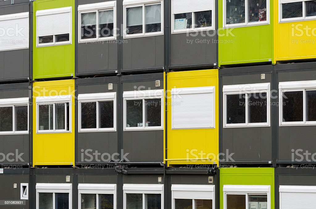 Prebuilt container houses for workers stock photo