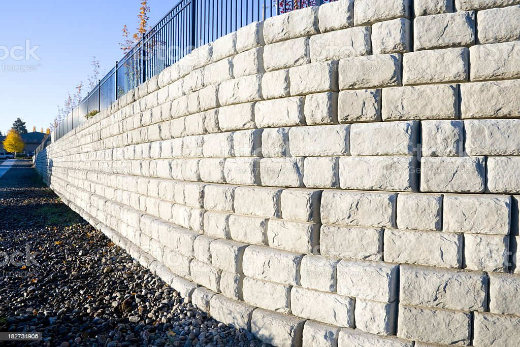 Precast cement block wall stock photo