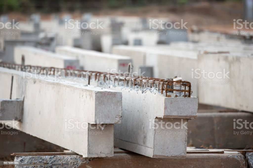 precast concrete beam in factory construction site stock photo