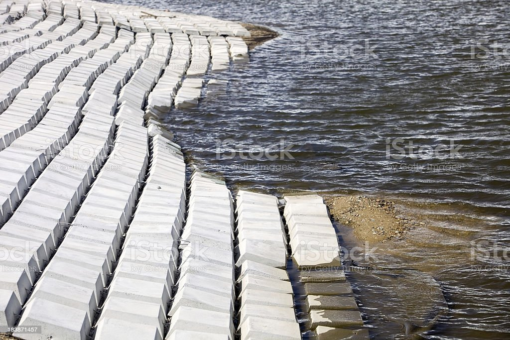 Precast Concrete Mat Flood and Erosion Control System stock photo