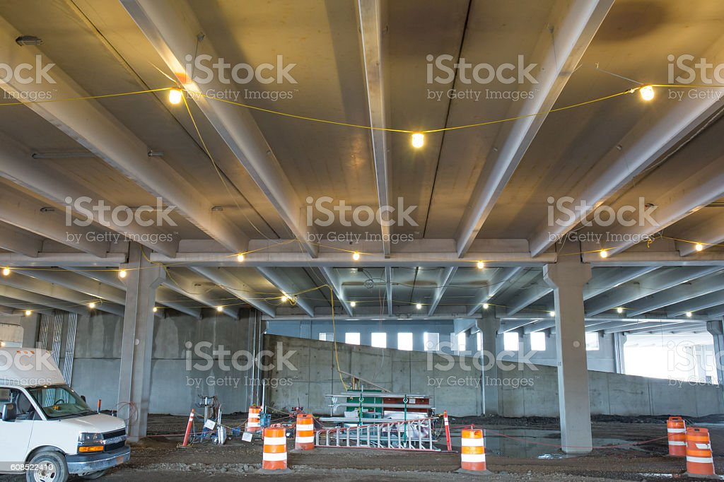 Precast concrete stuctural pieces used in parking garage stock photo