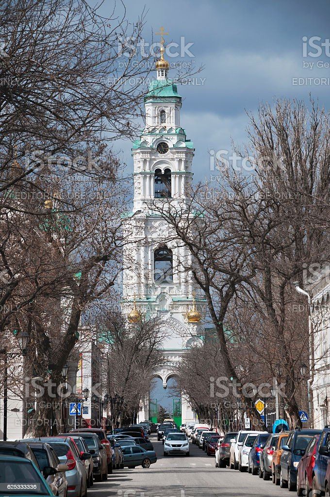 Prechistenskaya Belfry - The main gate in the Kremlin. stock photo