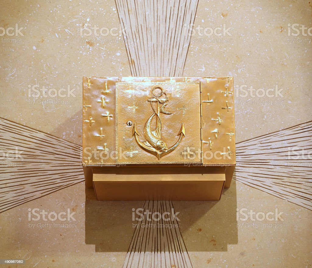 precious ancient Golden Tabernacle with Christian symbols stock photo
