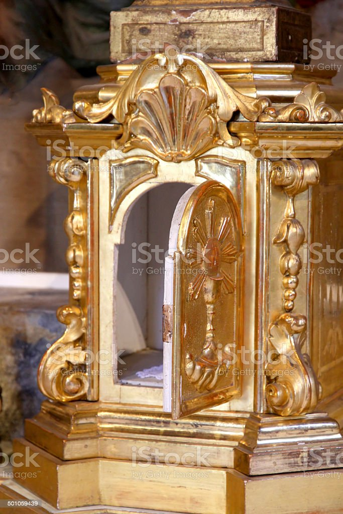 precious gold Tabernacle with door open in a Church stock photo